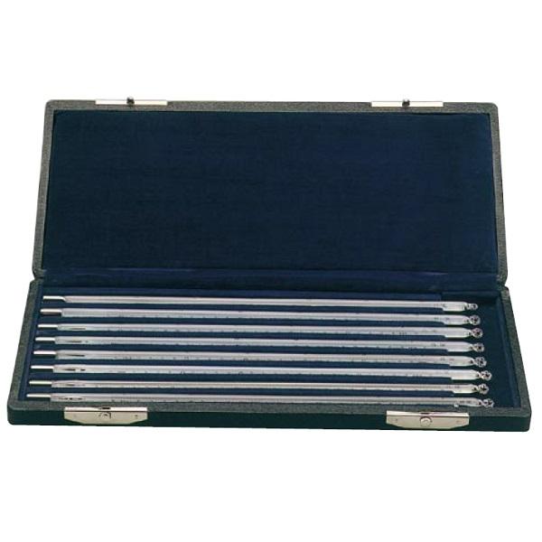 【�轄イ藤計量器製作所】二重管標準温度計8本組セット:箱入・全長300�o・検査成績書付