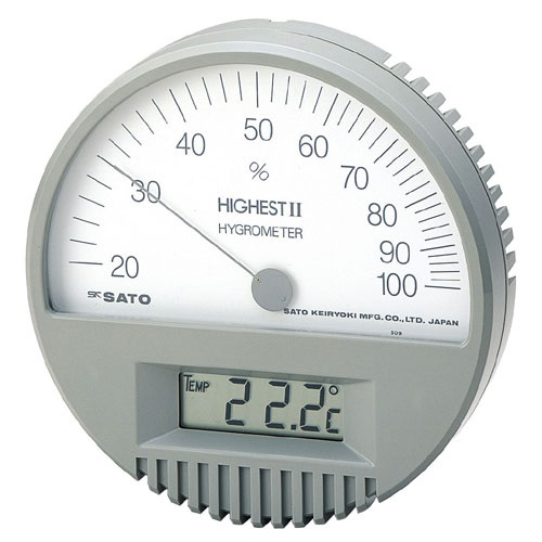 【�轄イ藤計量器製作所】ハイエスト�U型湿度計:温度計付