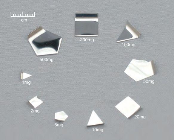 【�椛コ上衡器製作所】OIML型標準分銅(F2級)500mg板状