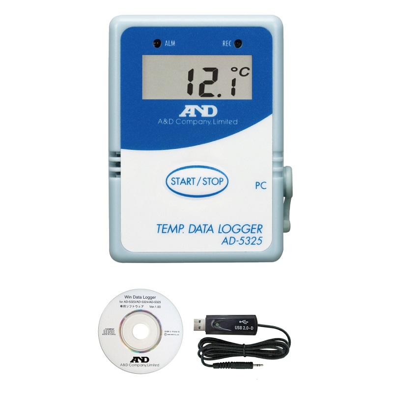 【�潟Gー・アンド・デイ】温度データロガー  AD-5325SET:8000メモリ・通信セット付属