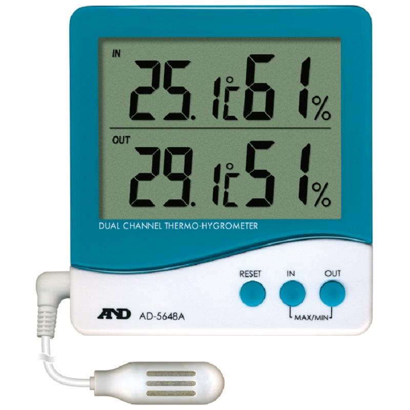 【�潟Gー・アンド・デイ】外部センサ付温湿度計  AD-5648A:デュアルチャンネル
