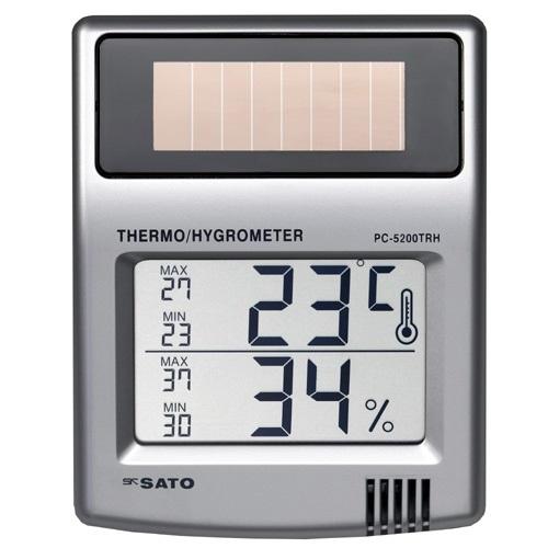 【(株)佐藤計量器製作所】ソーラーデジタル温湿度計  PC-5200TRH