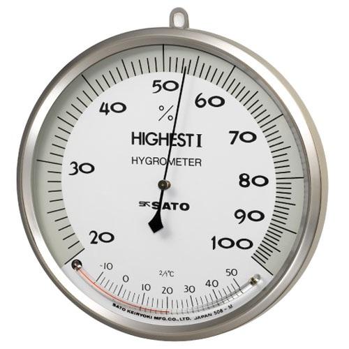 【(株)佐藤計量器製作所】ハイエスト�T型湿度計:温度計付