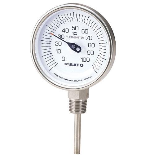 【(株)佐藤計量器製作所】バイメタル式温度計  BM-S-90S:−30〜50℃・ネジ下200�o・ケースSUS