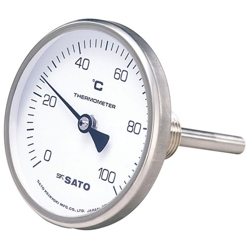 【(株)佐藤計量器製作所】バイメタル式温度計  BM-T-75S:0〜100℃・ネジ下50�o・ケースSUS