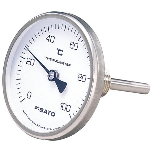 【(株)佐藤計量器製作所】バイメタル式温度計  BM-T-75S:0〜100℃・ネジ下150�o・ケースSUS