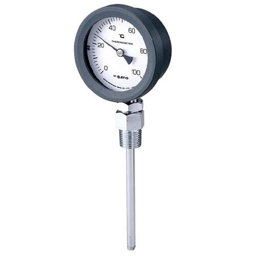 【(株)佐藤計量器製作所】バイメタル式温度計  BM-S-75P:0〜100℃・ネジ下100�o・ケースPA