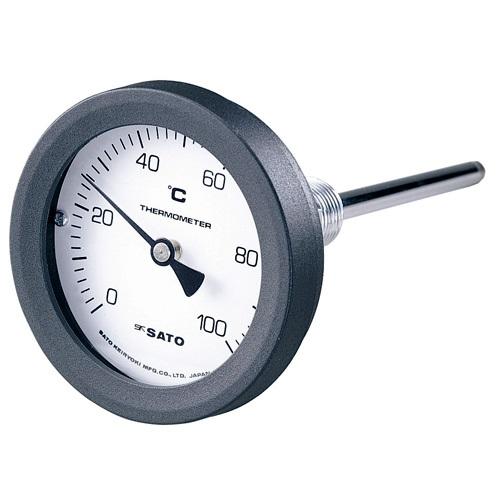 【(株)佐藤計量器製作所】バイメタル式温度計  BM-T-75P:0〜150℃・ネジ下100�o・ケースPA