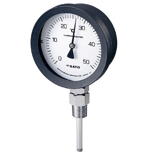 【(株)佐藤計量器製作所】バイメタル式温度計  BM-S-100P:0〜200℃・ネジ下50�o・ケースPA