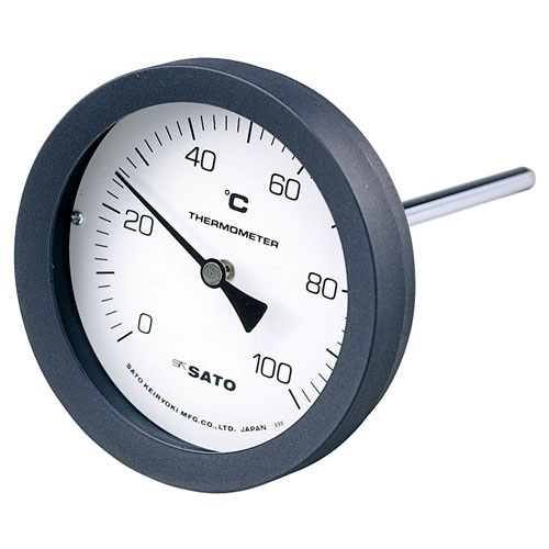 【(株)佐藤計量器製作所】バイメタル式温度計  BM-T-100P:0〜200℃・ネジ下100�o・ケースPA