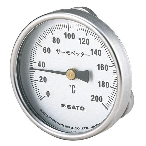 【(株)佐藤計量器製作所】バイメタル式表面温度計  サーモペッター:0〜400℃・マグネット付